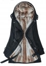 Black Plain Belt Hooded Fashion Dacron Padded Coat