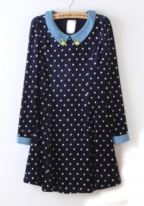 Sapphire Blue Polka Dot Diamond Velvet Mini Dress