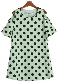 Green Polka Dot Lotus Sleeve Dress