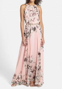 Pink Floral Print Pleated Sleeveless Maxi Dress