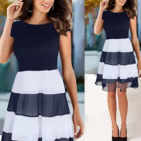 Navy Blue Striped Ruffle Round Neck Fashion Midi Dress
