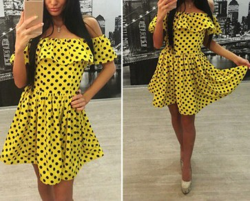 Yellow Polka Dot Print Boat Neck Fashion Mini Dress