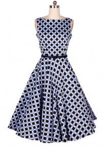 Blue Black Polka Dot Cascading Ruffle Collarless Midi Dress