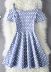 Blue Polka Dot Pleated Zipper Boat Neck Fashion Mini Dress
