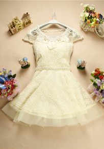 Apricot Patchwork Lace Hollow-out Grenadine Beading Round Neck Mini Dress