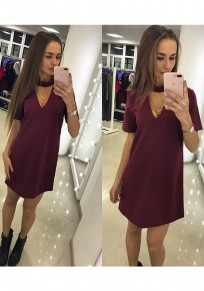Wine Red Deep V Short Sleeve Casual Mini Dress