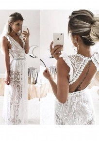 White Patchwork Hollow-out Lace Cut Out Ruffle Maxi Dress