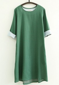 Green Polka Dot Print Cotton Dress