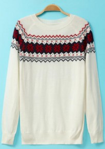White Print Long Sleeve Pullover