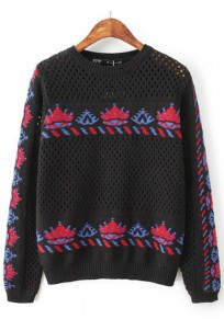 Black Print Hollow-out Pullover