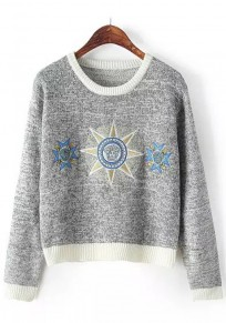 Grey Print Embroidery Pullover