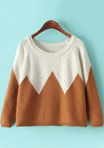 Coffee Rhombus Print Hollow-out Pullover