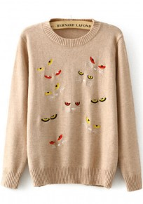 Khaki Cat's Eyes Embroidery Pullover