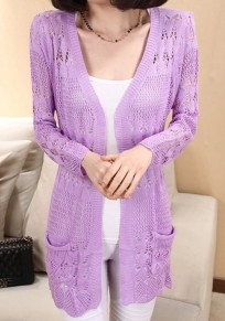 Violet Plain Hollow-out Pockets Knit Cardigan Sweater