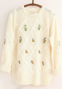 Beige Print Embroidery Pullover