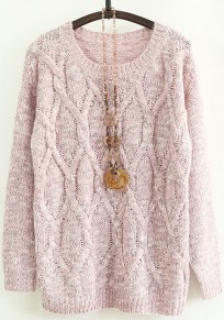 Pink Geometric Long Sleeve Pullover