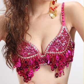 Pink Patchwork Sequin Beading Spaghetti Strap Slim Vest