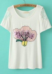 White Cabbage Print Sequin Short Sleeve T-Shirt