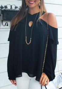 Black Cut Out Ruffle Off Shoulder Long Sleeve Casual Blouse