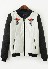 White Eagle Embroidery Zipper Trench Coat