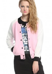 Pink Patchwork Buttons Trench Coat