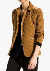 Khaki Plaid Zipper Paddad Coat