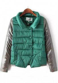 Green Patchwork Pockets Padded Coat