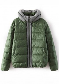Green Plain Patchwork Padded Coat
