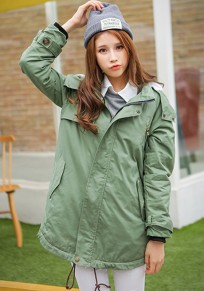 Army Green Plain Pockets Hooded Padded Coat