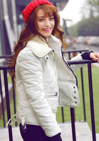 Beige Plain Zipper Pockets Padded Coat