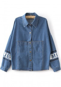 Blue Print Pockets Single Breasted Trench Coats