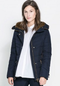 Dark Blue Plain Fur Collar With Hat Padded Coat