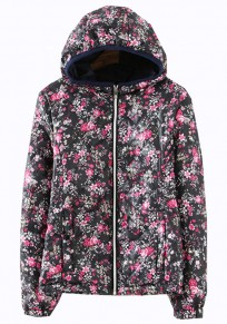 Black Flowers Print Collar With Hat Padded Coat