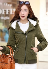 Army Green Plain Drawstring Padded Coat
