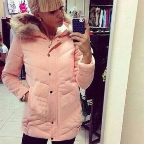 Pink Plain Buttons Pockets Zipper Faux Fur Padded Coat