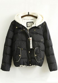 Navy Blue Polka Dot Pockets Hooded Padded Coat