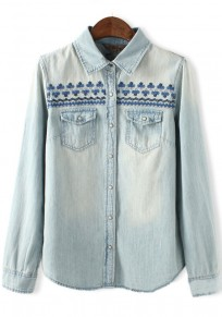 Light Blue Plain Embroidery Pockets Blouse