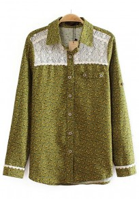 Army Green Floral Patchwork Lace Blouse