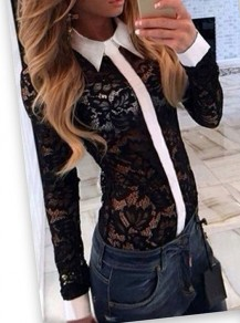 Black Patchwork White Lace Band Collar Long Sleeve Blouse