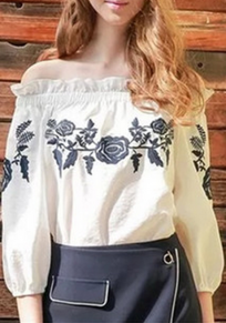 White Floral Embroidery Boat Neck Half Sleeve Blouse