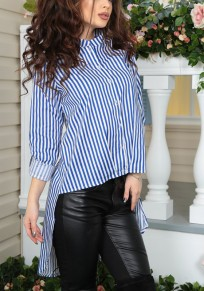 Dark Blue Striped Single Breasted Irregular Band Collar Fashion Blouse