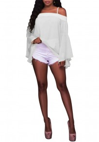 White Bandeau Spaghetti Strap Off Shoulder Backless Flare Sleeve Casual Blouse