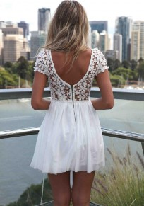 White Patchwork Draped Lace V-Back Neck Short Sleeve Chiffon Dress