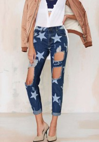 Dark Blue Galaxy Stars Print Hollow-out Pockets High Waisted Boyfriend Ripped Long Jeans