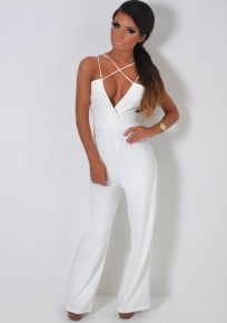 White Zipper Spaghetti Strap Cleavage Backless High Waisted Long Jumpsuit