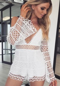 White Patchwork Hollow-out Lace Condole Belt Zipper Short Jumpsuit