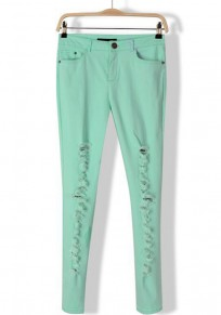 Green Plain Mid Waist Long Wrap Denim Pants
