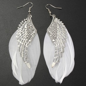Silver Fashion Alloy Angel Wings Feather Leverback Earring