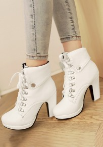 White Round Toe Chunky Lace-up Casual Ankle Boots