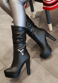 Black Round Toe Chunky Fashion Mid-Calf Boots